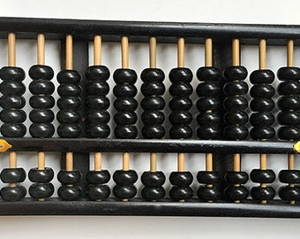 Vintage Abacus, Lotus Flower Brand, Peoples Republic of China, Black, 91 Beads