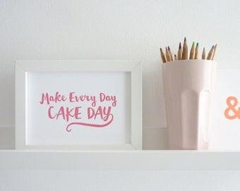 Make Every Day Cake Day! – 5 x 7 Letterpress Print