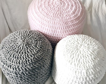 Pink Grey White Hand Crochet Pillow Ottoman Pouf, Footstool, Cushion! STUFFED! Perfect gift for baby showers!