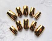 Gold Chrome Fake Nails / Mirror Nails / Chrome Nails, Acrylic Nails, False Nails, Press on, Nails, Metallic Nails