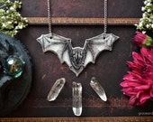 "SALE IllustratedNecklace - ""Vampire Bat- outline"" by Grace and the Wolf, shrink plastic, resin and stainless steel chain 50cm/20 inches long"