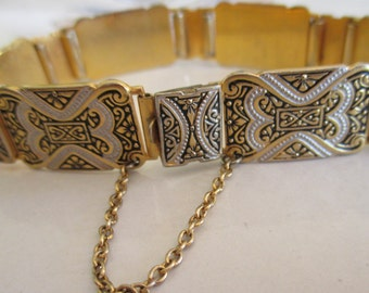Vintage Dasmascene Gold Black and White Bracelet with Safety Chain, 1960's, Push In Closure, Vintage Statement Bracelet