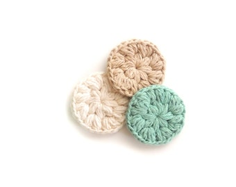 Face Scrubbies Crochet,  Makeup Removers, cotton scrubby, Mini Washcloths Eco-friendly Set of 3