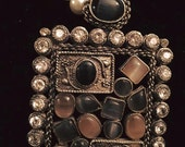 Rectangle pendant with black and grey stones, geometric design, pearl necklace, pendant