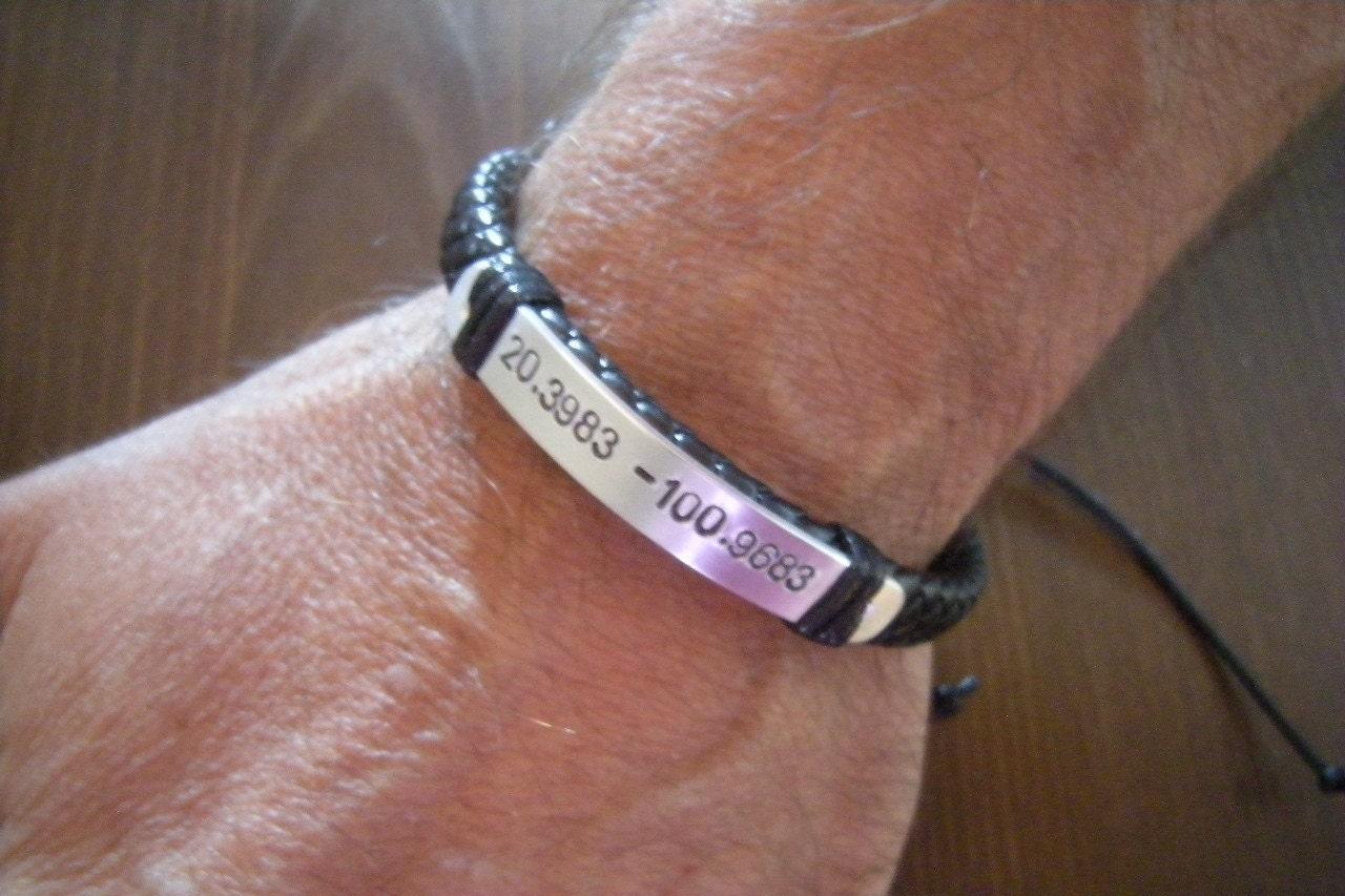 bracelet for gps coordinates bracelet mens bracelet