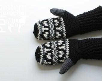 DIY Crochet PATTERN - Fair Isle Crochet Hills Mittens- Ladies Large / Mens Small (2016005)