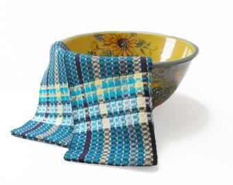 Hand Woven Tea Towel, Blue Kitchen Tea Towel, Blue Plaid Tea Towel, Navy Blue Striped Tea Towel Gourmet Chef Towel Blue Dish Towel Handwoven