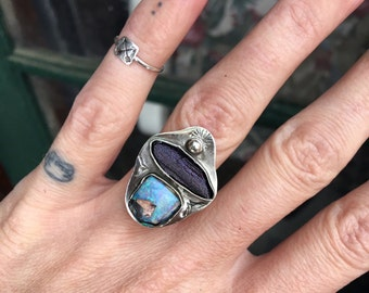 opal and hematite OOAK ring