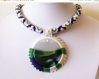 15% SALE Beadwork Bead Embroidery Pendant Necklace with Multi-Color Agate - BLUE GREEN Shores - white statement necklace - modern necklace