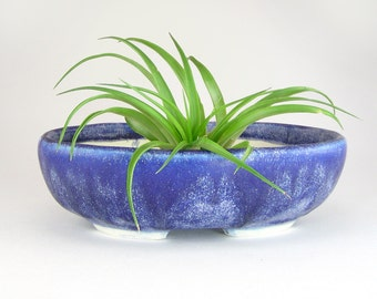Blue Oval Bonsai Pot, Matte Blue Succulent Planter, Hand Built Shallow Flower Pot, Kusamono, Cactus Pot, Shohin Bonsai Planter 05-16-17