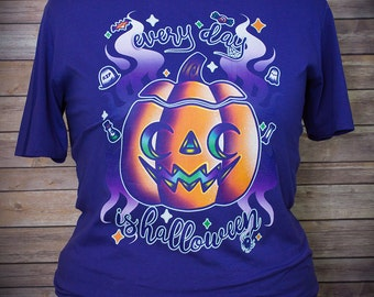 Every Day Is Halloween Pumpkin Graphic T Shirt Pastel Goth Fairy Kei
