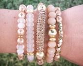 LATTE- Set of 5 Womens Gold Rhinestone Pave Tube, Cream Jade Gemstone, Clear GLITTER, Gold Metal Nude Bead Boho Stretch BRACELETS Jewelry