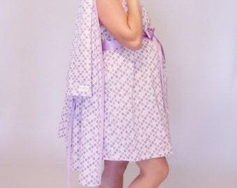 Small hospital maternity delivery set gown, robe, nursing breastfeeding maternity dress