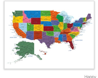 Usa Map Print Etsy - Us maps with states and cities