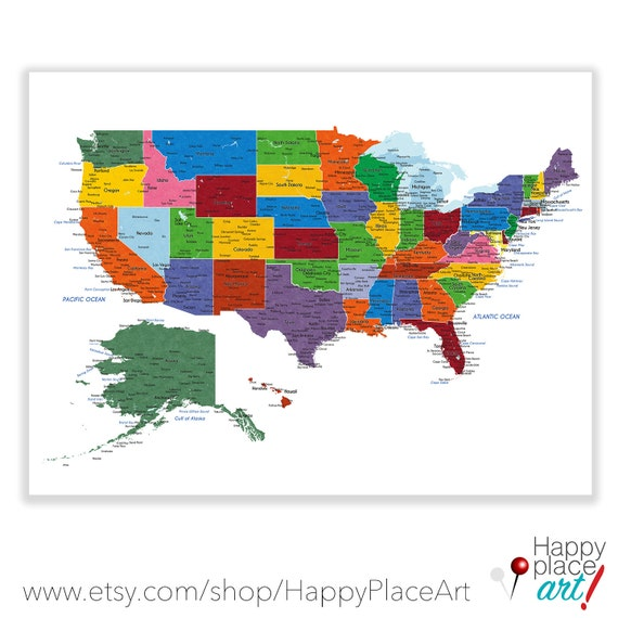 Detailed USA Map With Cities And States Labels US Map Print - Usa map states cities