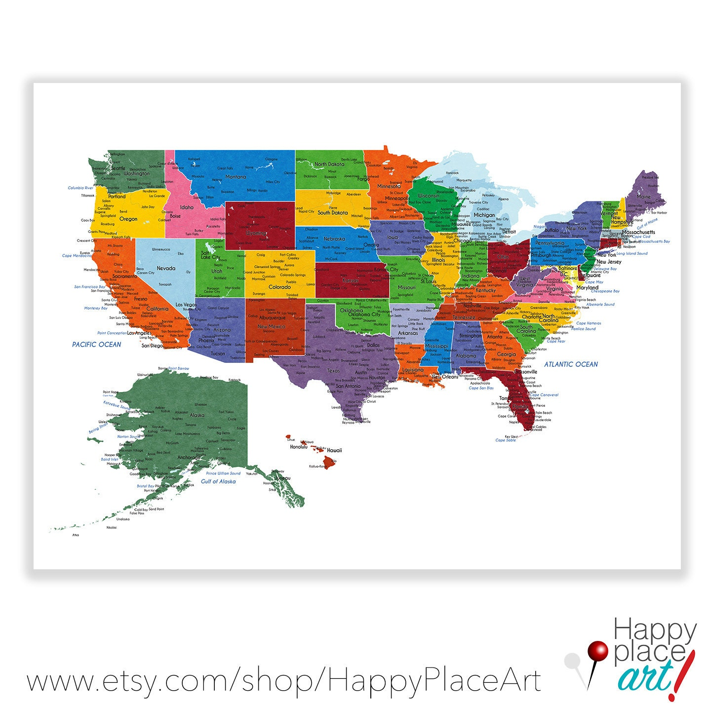 Detailed USA Map With Cities And States Labels US Map Print - Detailed usa map with states and cities