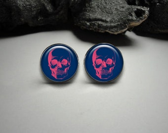 Skull Cuff Links and Tie Clip Set 20mm/ Anatomy Silver Tie Clip and Cuff Link Set for Him/ Doctor Cuff Links Men Gift