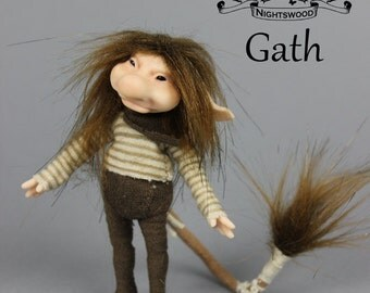 OOAK Pixie Brownie Art Doll Sculpture - Gath - by Ksheyna Nightswood