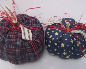 Pumpkins, Handmade, Fabric,  Country, Patriotic, Home Decor, Home & Living, Fall, Autumn, Plaid, USA, Stars, Red, Navy Blue,  Accents