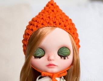 Pixie gnome helmet for Blythe, orange