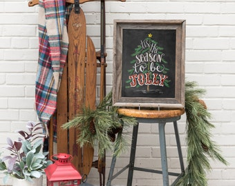 Tis the Season Sign - Chalk Art Print - Christmas Chalkboard Art - Holiday Decor - Christmas Tree Art - Rustic Holiday Art