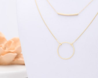 Gold curved bar and Circle necklace Karma layered set of two everyday necklaces delicate gold tube necklaces gold filled jewelry.
