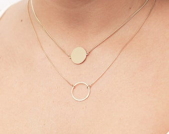 Gold Layering Necklaces with Circle And Disk Dainty Layered Necklaces Initial Disk Karma Necklace gold filled jewelry.