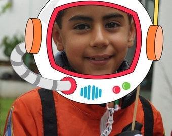 Astronaut Space party pdf printable outer space photo booth props - helmet, rocket spaceship, alien eyes with blue boy & pink girl astronaut
