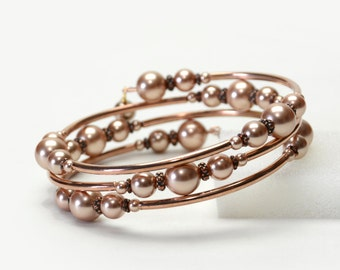 Rose Gold Pearl Memory Wire Bracelet - Swarovski Crystal Pearl Bracelet with Antique Copper and Rose Gold Accents - Bridal Jewelry