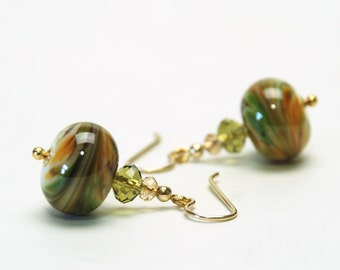 Olive Green Lampwork Earrings with Swarovski Crystal Accents on Gold Filled Earwires