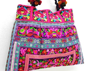 Thai Hill Tribe Bag Pom Pom Hmong Thai Bag Embroidered Ethnic Purse Bag Woven Bag Hippie Bag Hobo Bag Boho Bag Shoulder Bag: Pink Red Black