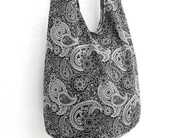 Women bag Handbags Cotton bag Hippie bag Hobo bag Boho bag Shoulder bag Sling bag Messenger Tote bag Crossbody bag Purse Paisley Black