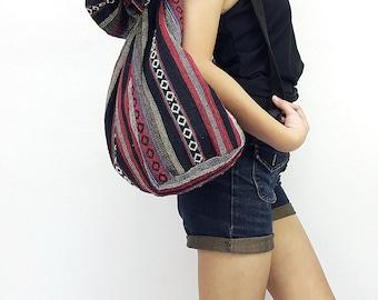 Woven Cotton Bag Single Strap Backpack Hippie Hobo Boho bag Tote Travel Bag School bag Women bag Handbags Shoulder One Strap Backpack (WF63)