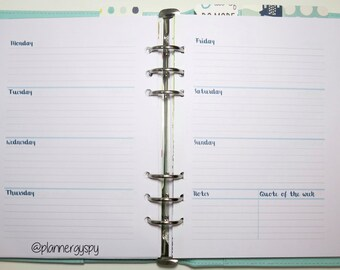 A5 week on 2 page printable planner inserts - WO2P