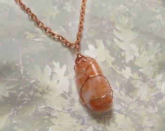 Wire Wrapped Stone Orange Calcite Chunk Gemstone Pendant Copper Wire Wrapping Natural Stone Necklace