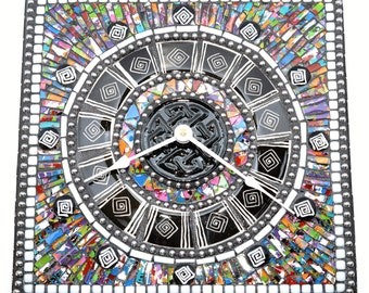 Zig Zag multicolored square mosaic clock