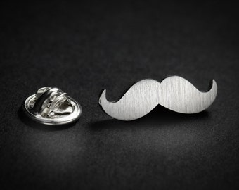 Tie Tack - Mustache tie pin - Sterling silver lapel pin - Mens accessories, custom lapel pin