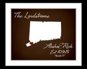 1st St Valentines Day Gift For Him, Connecticut Wall Art, Anniversary Gift Husband Wife Custom Map Any State Or Country