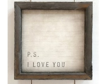 Word Art, Home Decor, Small Framed Canvas, Rustic Wood Frame, PS I Love You