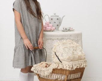Girls dress Girls oversized dress Natural linen dress Toddler girl dress Girls clothes Girls loose fit dress Striped dress Ruffle dress