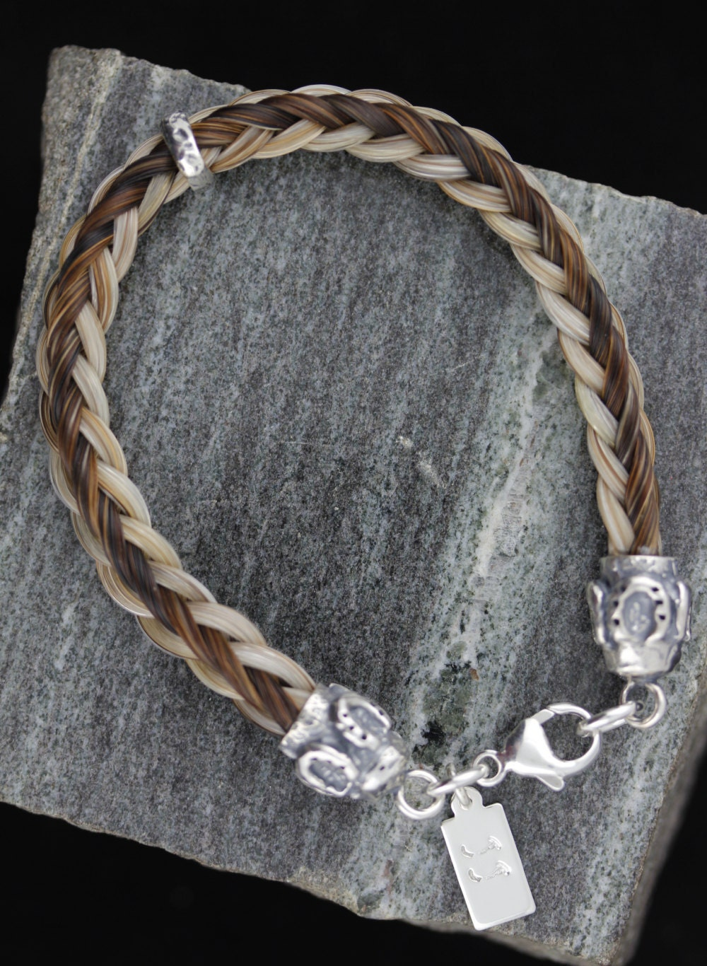 Custom Horse Hair Bracelet With Large Sterling Silver Horse