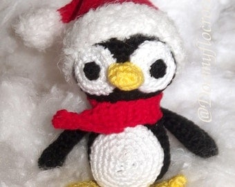 Crocheted Christmas Penguin amigurumi
