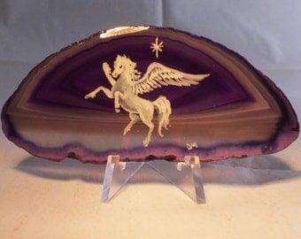 Pegasus Painting on Agate