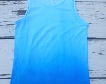 Turquoise Ombre Tank // Ombre Tank Top // Tie Dye Tank Top