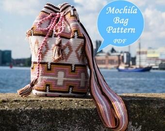 Mochila bag pattern, Tapestry crochet bag tutorial, Mochila crochet tutorial, step-by-step tutorial, English and Dutch PDF, Instant download