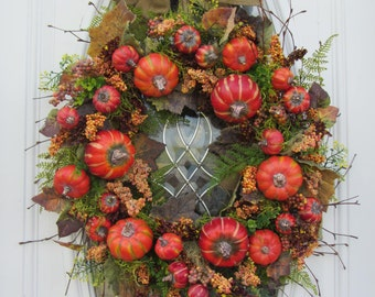 Pumpkin Wreath - Fall Wreath - Autumn Wreath - Front Door Wreath - Fall Berry Wreath - Twig Wreath - Rustic Fall Wreath - Thanksgiving Decor