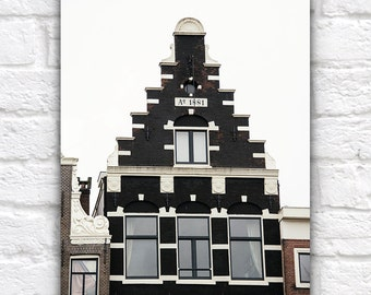 Amsterdam Architecture, Black Brick Building, Historical, Charming Dutch Canal House, Travel, Europe, Minimalist Black, White, Color