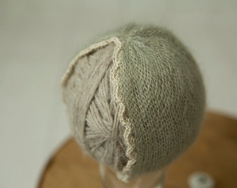 handknit newborn size mohair turban hat with scalloped edge