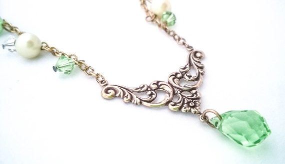 Antique Gold Flower Filigree Beaded Glass Pearl Crystal Necklace