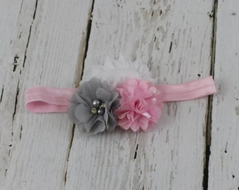 Baby Headband Pink Grey White Shabby Chic Flower Headband Newborn Headband Pink Headband Gray Headband Baby Hair Bows 1st Birthday Headband